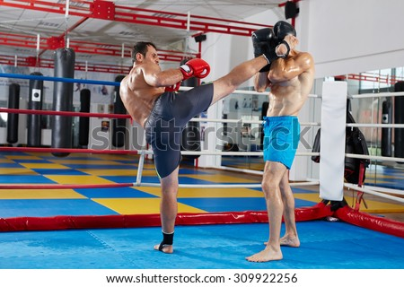 Two muay thai fighters