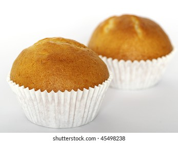 Two muffins on white background.