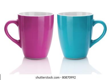 Two Mugs Isolated on White Background