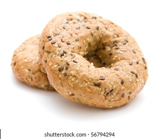 two multigrain bagels; isolated on white;