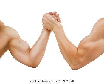 Two muscular hands clasped arm wrestling, isolated on white
