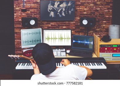 Two musicians jamming music through internet from different continents. Musician learning music lesson from internet. communication technology concept
