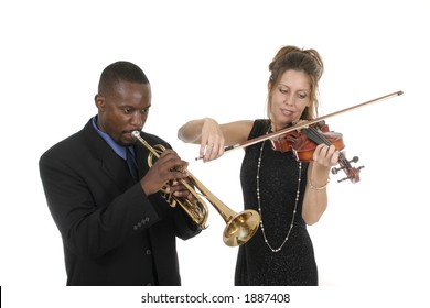 Two musicians tune up before a concert while still having fun with each other.