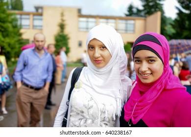 two muslim girls in a prom