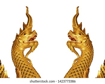 Two Naga Heads isolated on white background. Naga heads along the Naga steps in Buddhist temples are dramatically ornamented and extensively used in Thai temples or Wat Thai.