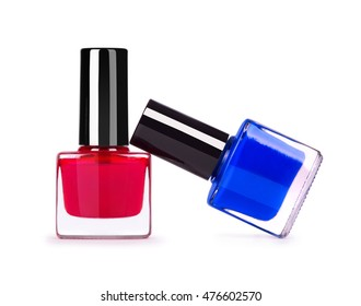 two nail polish bottles over white background