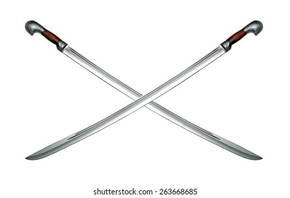 Two naked Circassian cavalry swords isolated on white background