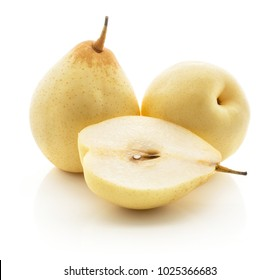 Two Nashi pears and one section half (Russet pear) isolated on white background yellow