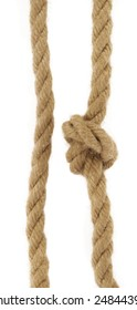 Two natural rope, one with knot on white background.