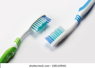 two new toothbrush on white background. dental concept