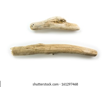 Two nice shaped driftwood, isolated on white.