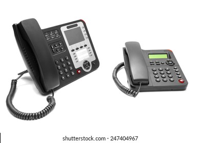 Two office phone isolated on white background