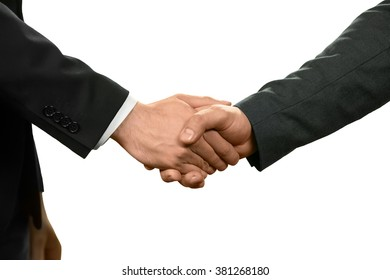 Two officials shake hands. The power of diplomacy. Negotiate and recruit. Common goals.