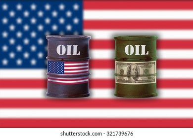 Two oil drums with sign of dollar note and union flag of America against American flag