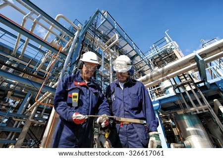 b8e37335eb Two Oil Gas Workers Main Station Stock Photo (Edit Now) 326617061 ...