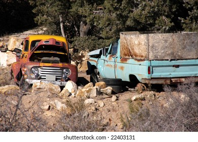 Two Old Abandoned Pickup Trucks