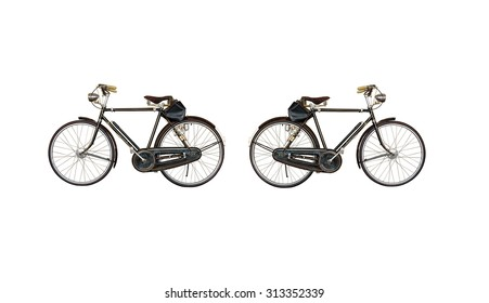 Two old bicycles, lights on the way, with the input of baggage. on white background