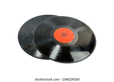 two Old black scratched music vinyl records isolated on white background