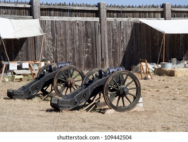 Two old cannons in Fort Ross, CA, USA