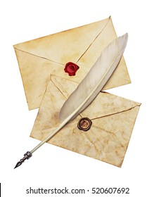 Two old envelopes with red and brown seal wax and feather pen isolated on white