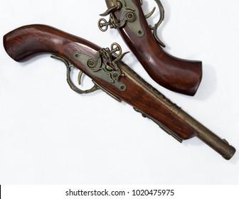 Two old flint pistols