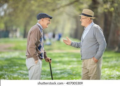 Two old friends having a conversation in a park on a beautiful spring day