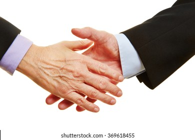 Two old hands about to giving shakehands for a handshake