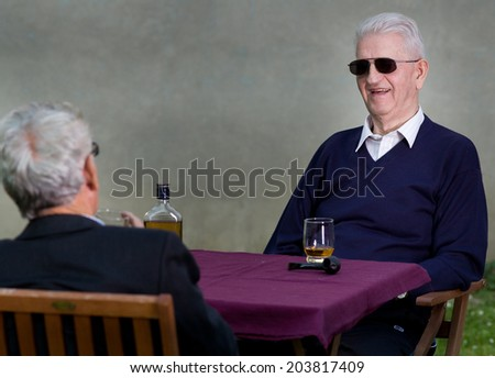 41422a41e158 Two Old Man Sunglasses Talking Smiling Stock Photo (Edit Now ...