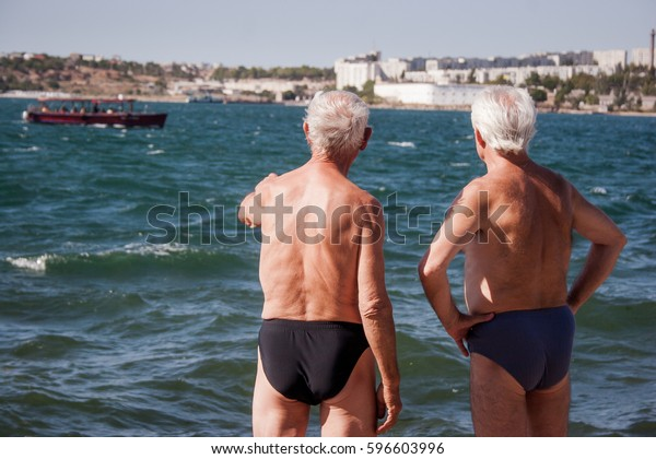 b611703af5 Two Old Men Swimming Trunks On Stock Photo (Edit Now) 596603996