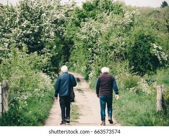 Two old men walking on a woods path