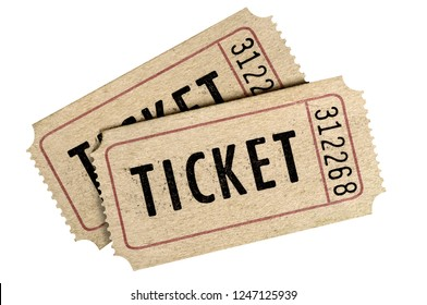 Two old movie ticket stub isolated white background.