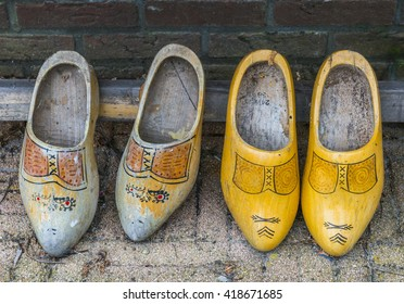 Two old pair of wooden shoes in the Netherlands.