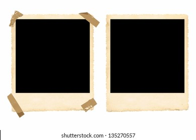 two old photo borders one with tape and one clean