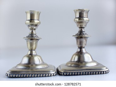 Two old silver vintage antique candlesticks