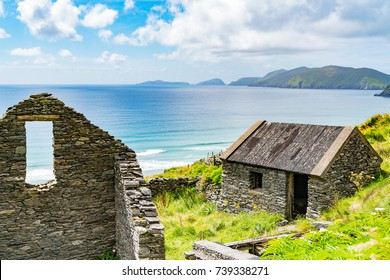 Two old stone house wall and window remains only in one Wild Atlantic Way