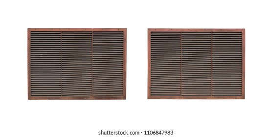 Two old ventilating lattices isolated on a white background.