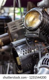 Two old Vintage cinema reflector spotlights