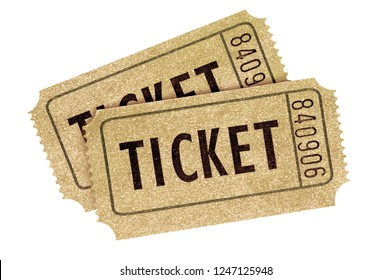 Two old vintage movie tickets isolated white background.