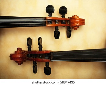 two old violin detail in ambient light