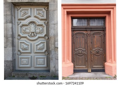 two old weathered wooden doors with wooden decorations in the historic part of Lisbon