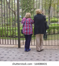 Two old women talking and watching the park trough a grid.
