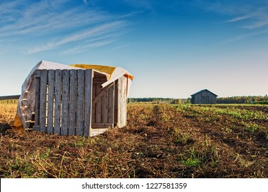 Two old wooden crates on an autumn field at the Northern Finland. The crates are used for storing potatoes.