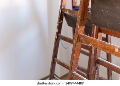 Two old wooden ladders are ready for renovation in the house