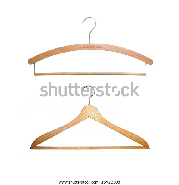 Two Oldfashioned Wooden Hangers Isolated On Stock Photo Edit Now