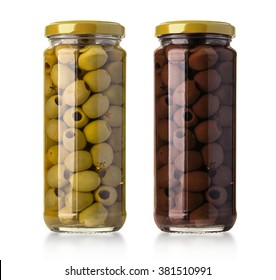 two  olives  bottles  on a white background in bottle with clipping path