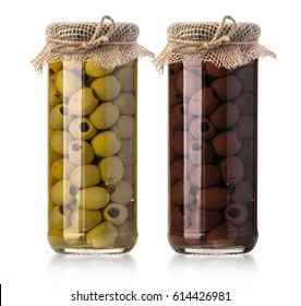 two  olives  bottles  on a white background in bottle