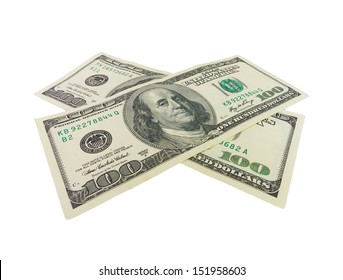 Two one hundred dollar bills crossed. Isolated on white background