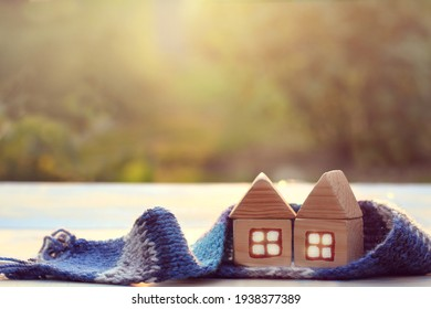 two one-story wooden houses in a scarf. eco-friendly place of residence