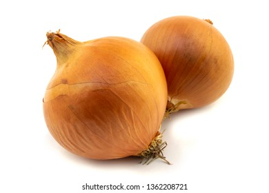 two onion bulbs isolated on a white background
