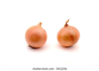 Two onions, isolated on white
